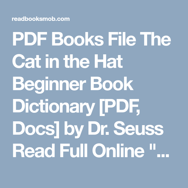 Cat In The Hat Book Pdf With Pictures