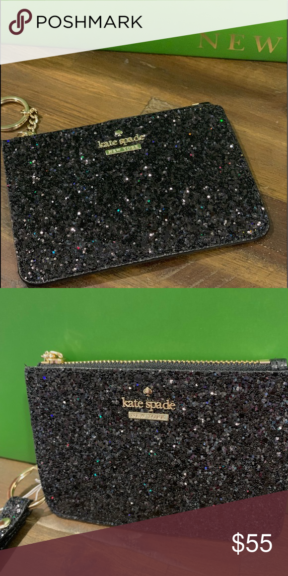 kate spade card holder glitter  🆕Kate spade black glitter wallet with gold chain Boutique ...
