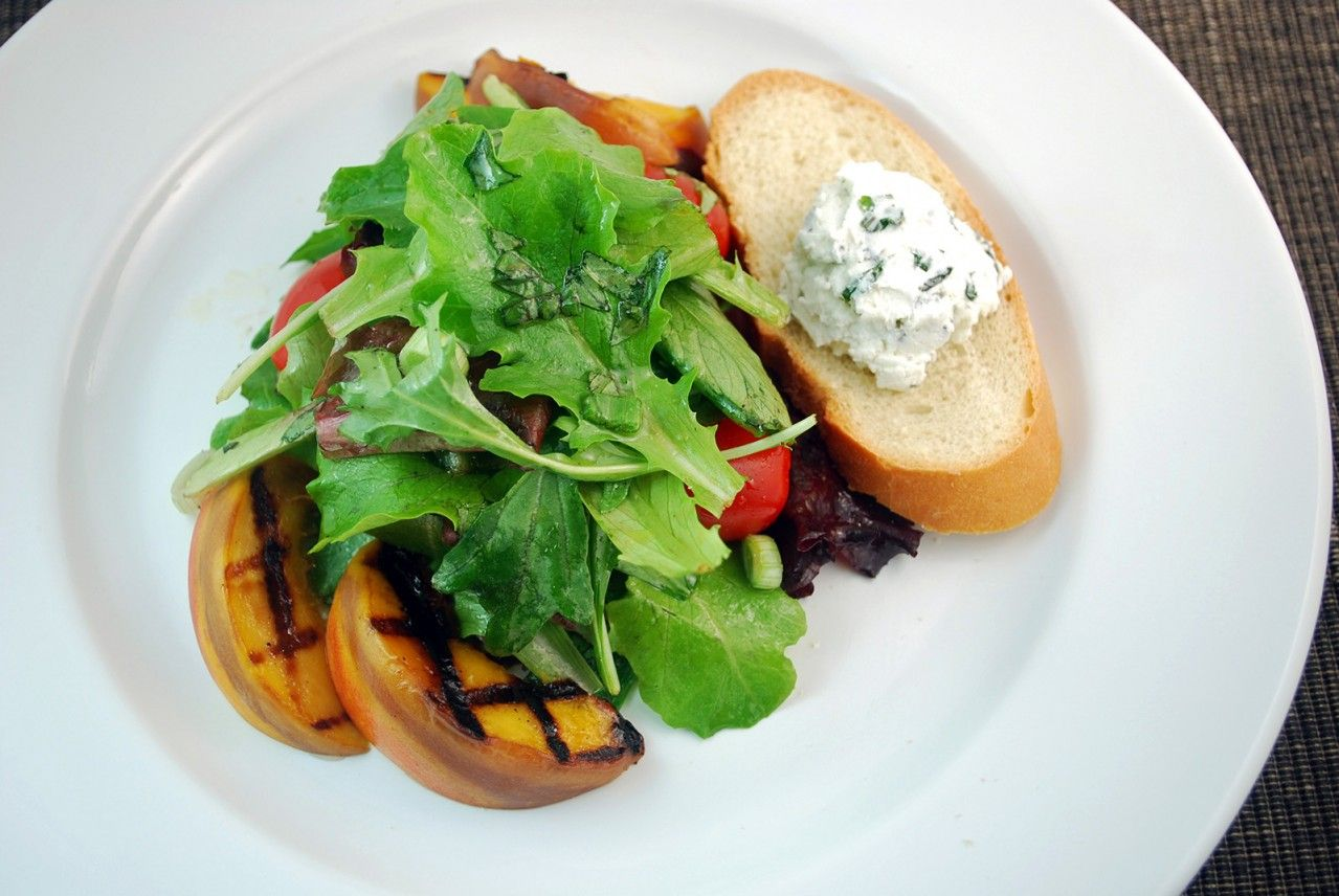 Grilled Peach Salad with Herbed Goat Cheese