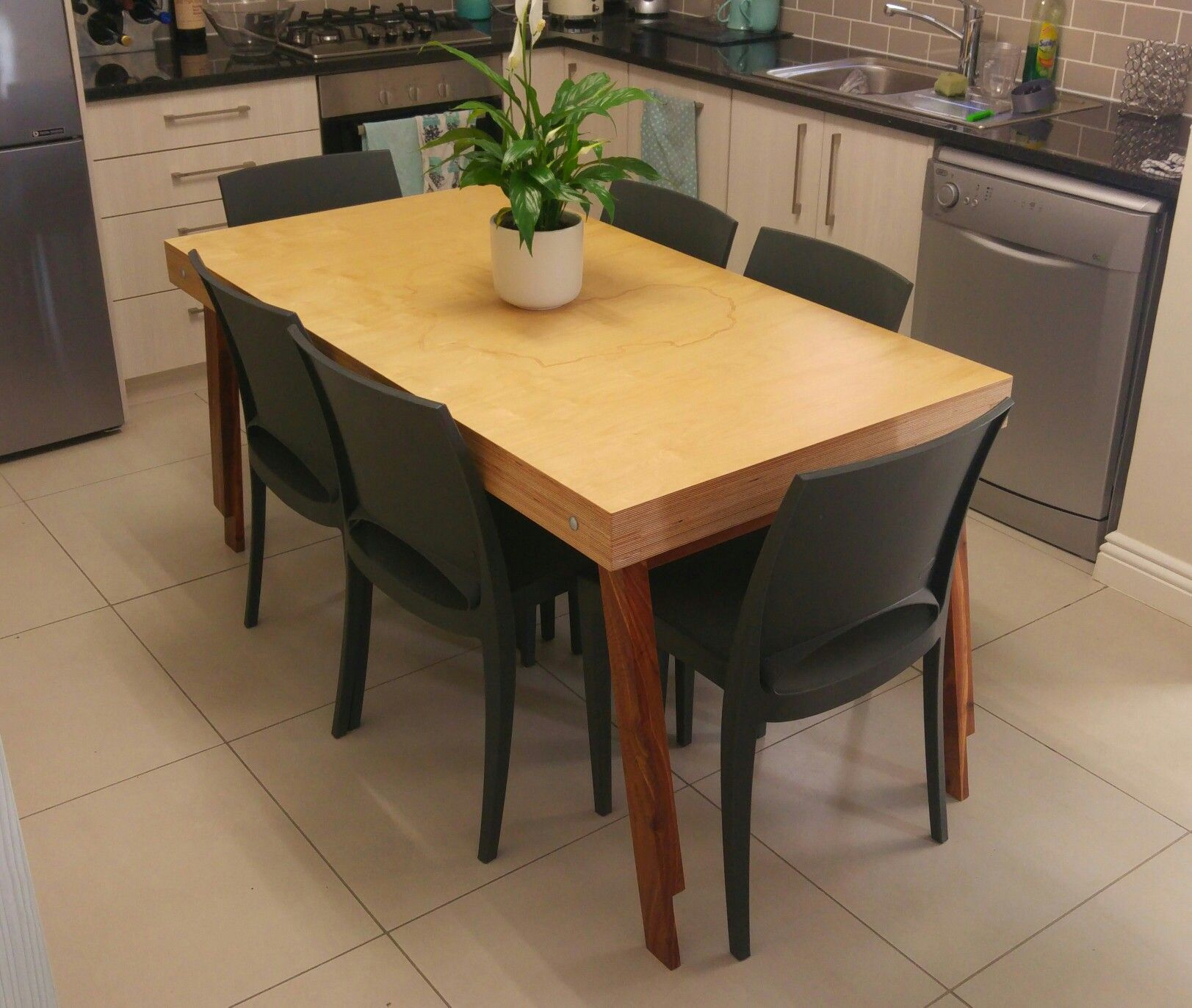 Space Saving Table Birch Ply Kiaat With Images Space