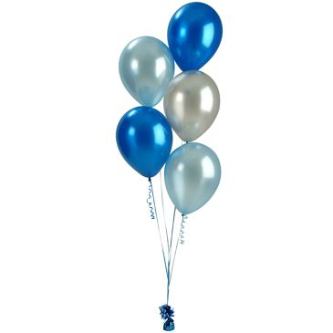 Bunch Of 5 Helium Balloons - Brilliant Blue