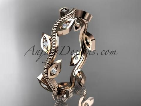 14k rose gold diamond leaf and vine wedding ring, engagement ring, wedding band ADLR1B - AnjaysDesigns, Diamond Wedding Bands - Jewelry, Anjays Designs - AnjaysDesigns, AnjaysDesigns - AnjaysDesigns,