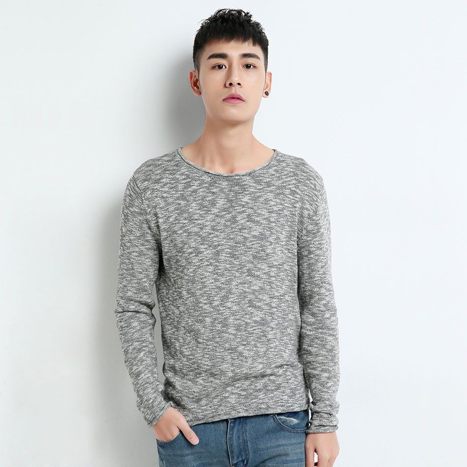 Knitted Sweater For Men Knitting Pullover Men Male Grey Sweater ...