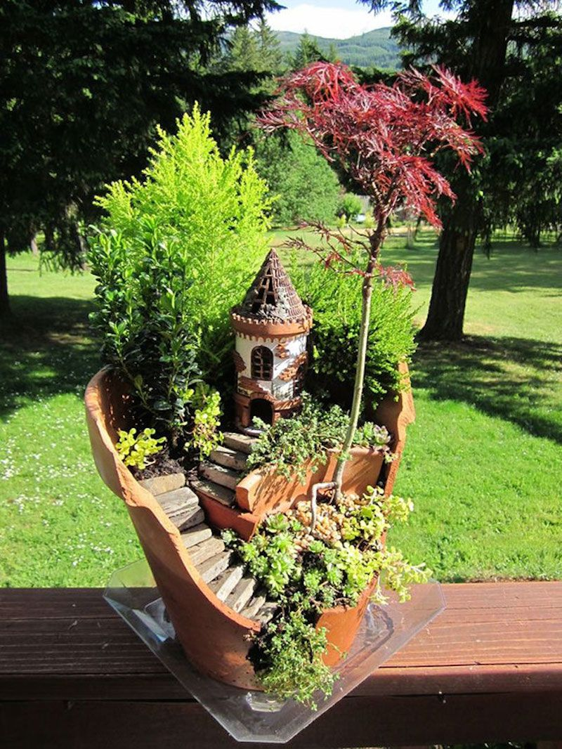 diy reusing broken planters to make fairy gardens. at http://www