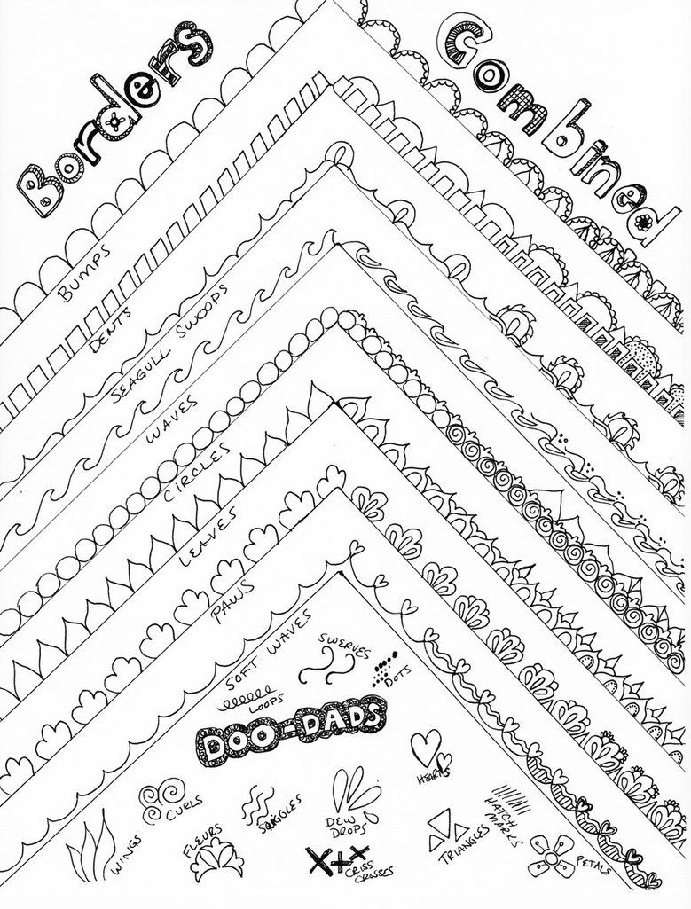 Easy Borders To Draw : borders, Drawing, Borders, ~PeriwinklePaisley, DeviantART, Borders,, Zentangle, Patterns,, Doodle
