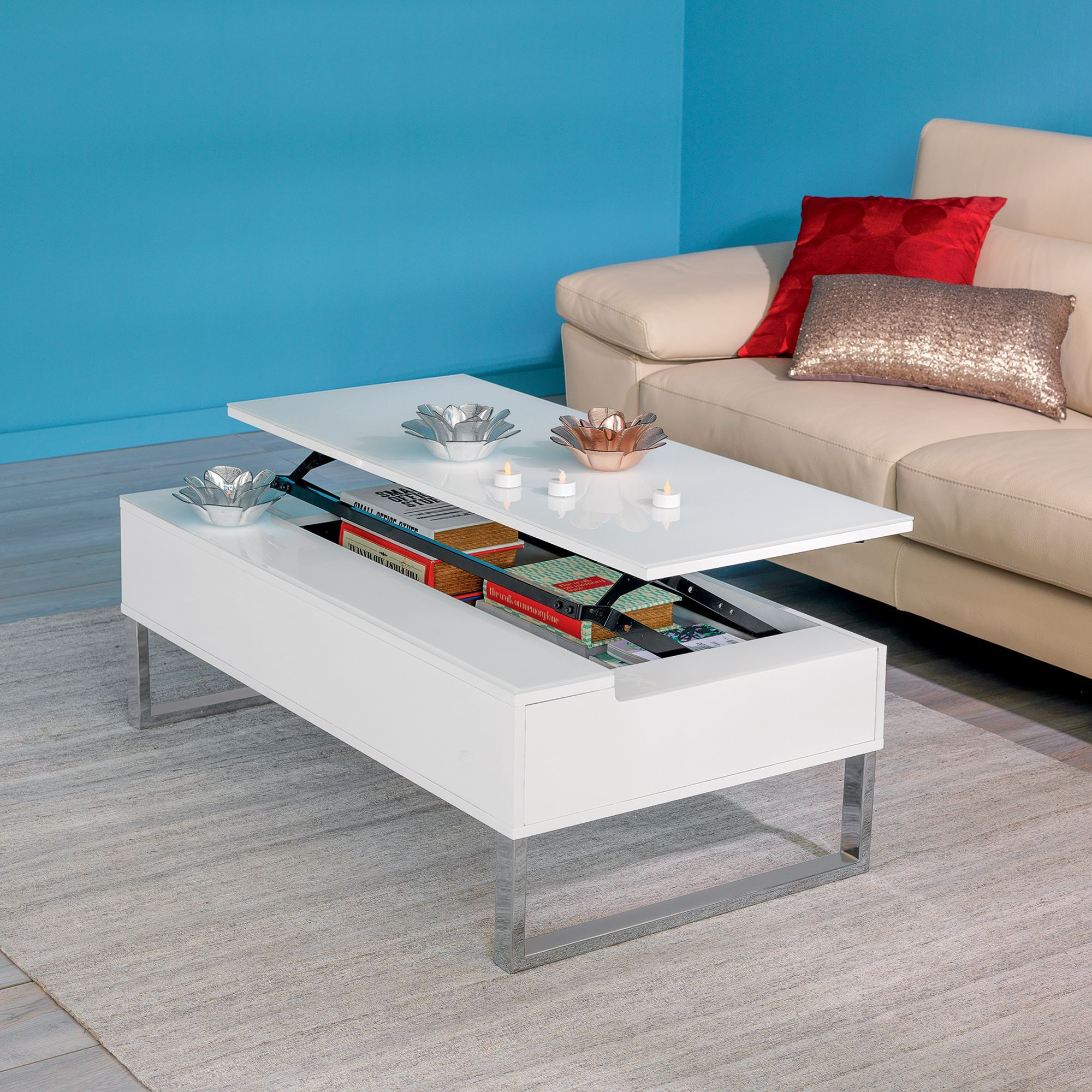 Table basse avec tablette relevable blanche blanc novy for Salon avec table a manger