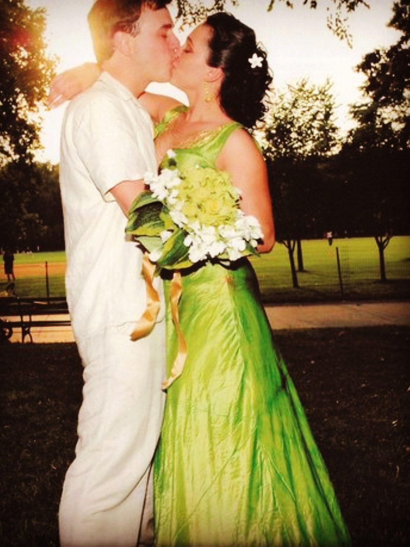 Green wedding gown boho beach island wedding forest bridal dresses