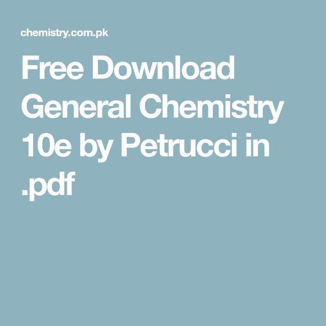 Petrucci General Chemistry Pdf