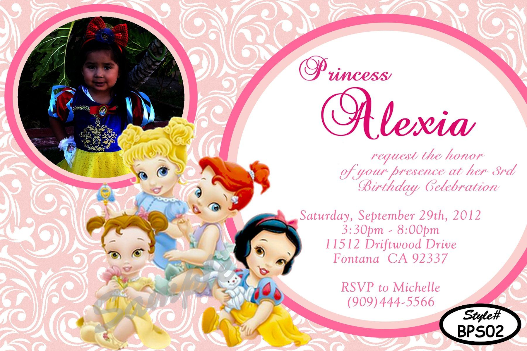 Disney Baby Princesses Birthday Invitation Digital And Printable Invite In 4x6 Or 5x7