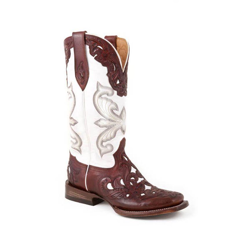 d294b8f47e Stetson Womens Hand-Tooled Western Boots