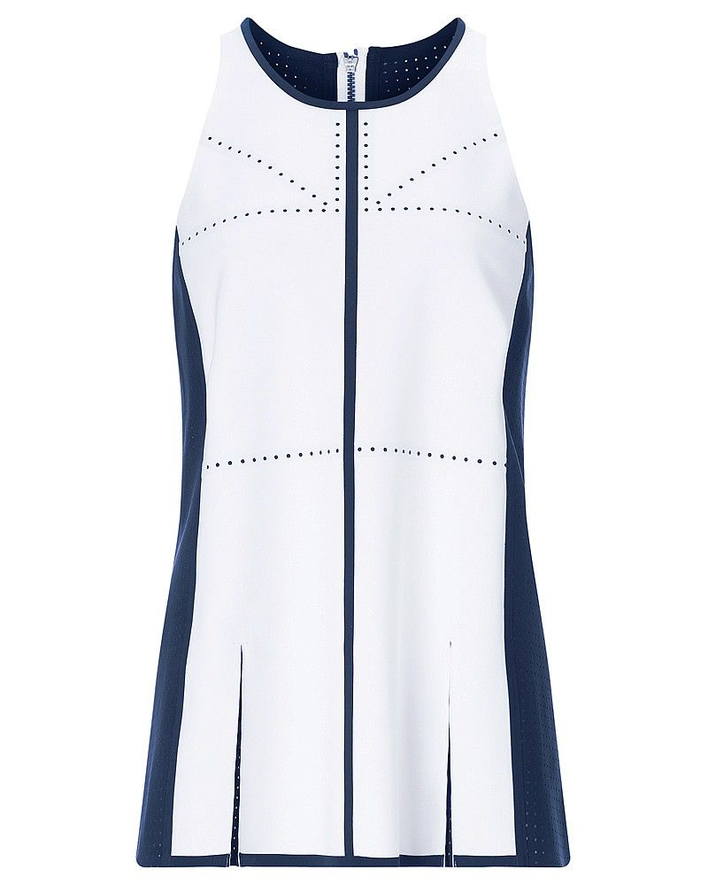 For sixties sporting style, this vest from the exclusive London Edit collection combines runway inspired shapes with the most technical of sweat-wicking fabrics. Feminine style comes from clean bonded seams, sheer accents and pleated panels. Plus, a perforated back reminscent of the Union Jack offers breathability for performance worthy of an Olympic athlete.Limited edition only 100 of each style available.