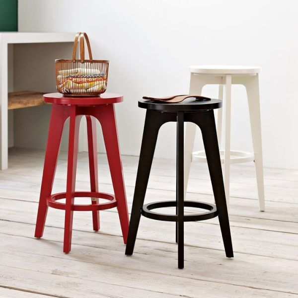 Attractive Painted Wooden Barstools With Round Seats   Decoist. Kitchen StoolsKitchen  ...