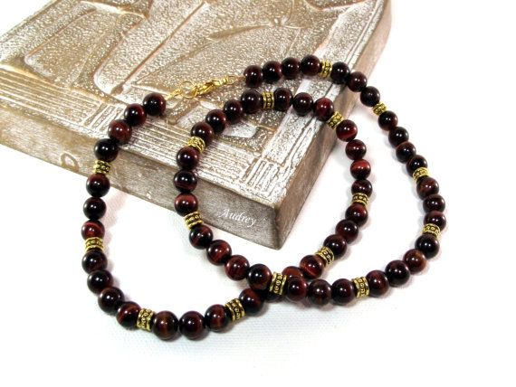 Men's Red Tiger's Eye Necklace - Sherry Berry Delight by Designed By Audrey, $44.00