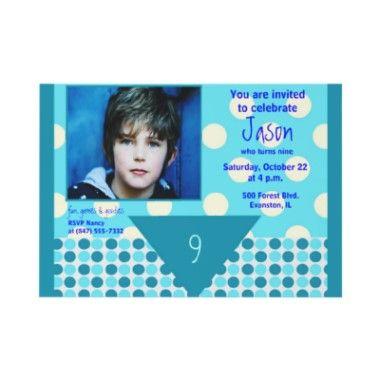Blue and white polka dots personalized photo boy's birthday invitation at www.zazzle.com/sharoncullars
