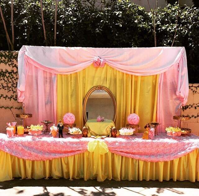 Princess Belle Decorations Glamorous Princess Birthday Party Ideas  Yellow Desserts Dessert Table And Inspiration
