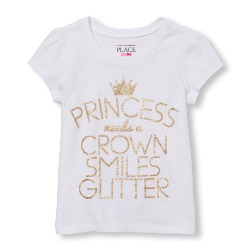 a8221cd7 s Toddler Short Sleeve Glitter 'A Princess Needs Crown Smiles Glitter' Graphic  Tee - White T-Shirt - The Children's Place