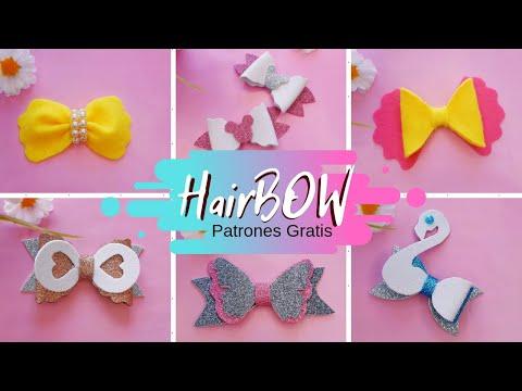 Lazos para el cabello con patrones GRATIS 🎀 hairbow for girls #1 💙 Margari