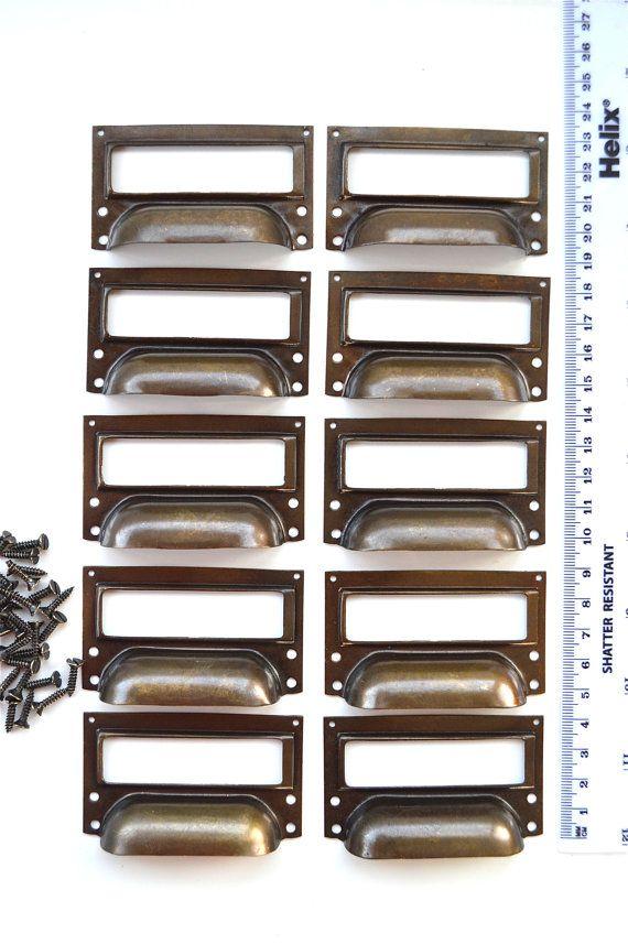 Set Of 10 Vintage Aged Br Filing Cabinet Label Holder Drawer Pull Handle Fd2