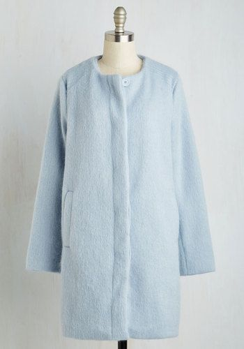 Tender Loving Carriage Ride Coat in Frost by BB Dakota - Blue, Solid, Minimal, Fall, Winter, Long, Woven, Variation, Pastel, Holiday Party, 2