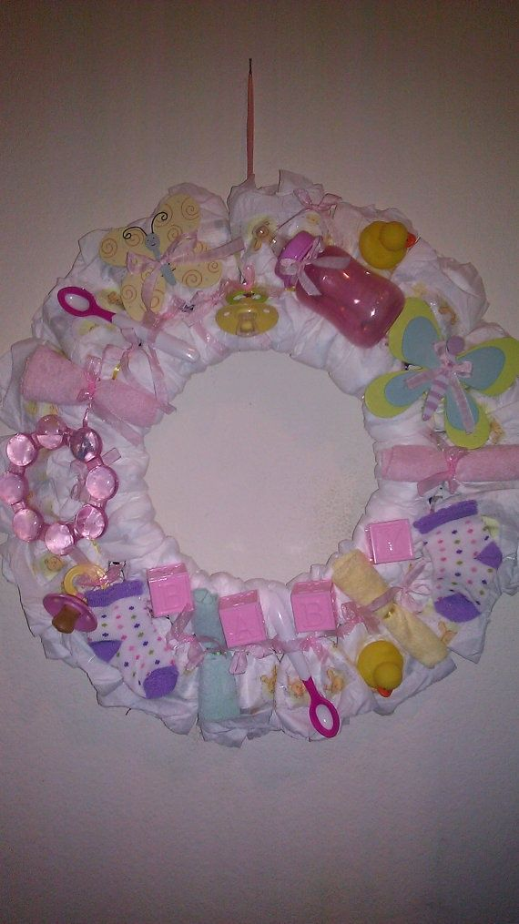 Baby Diaper Crafts For Baby Girl Baby Girl Diaper Wreath By