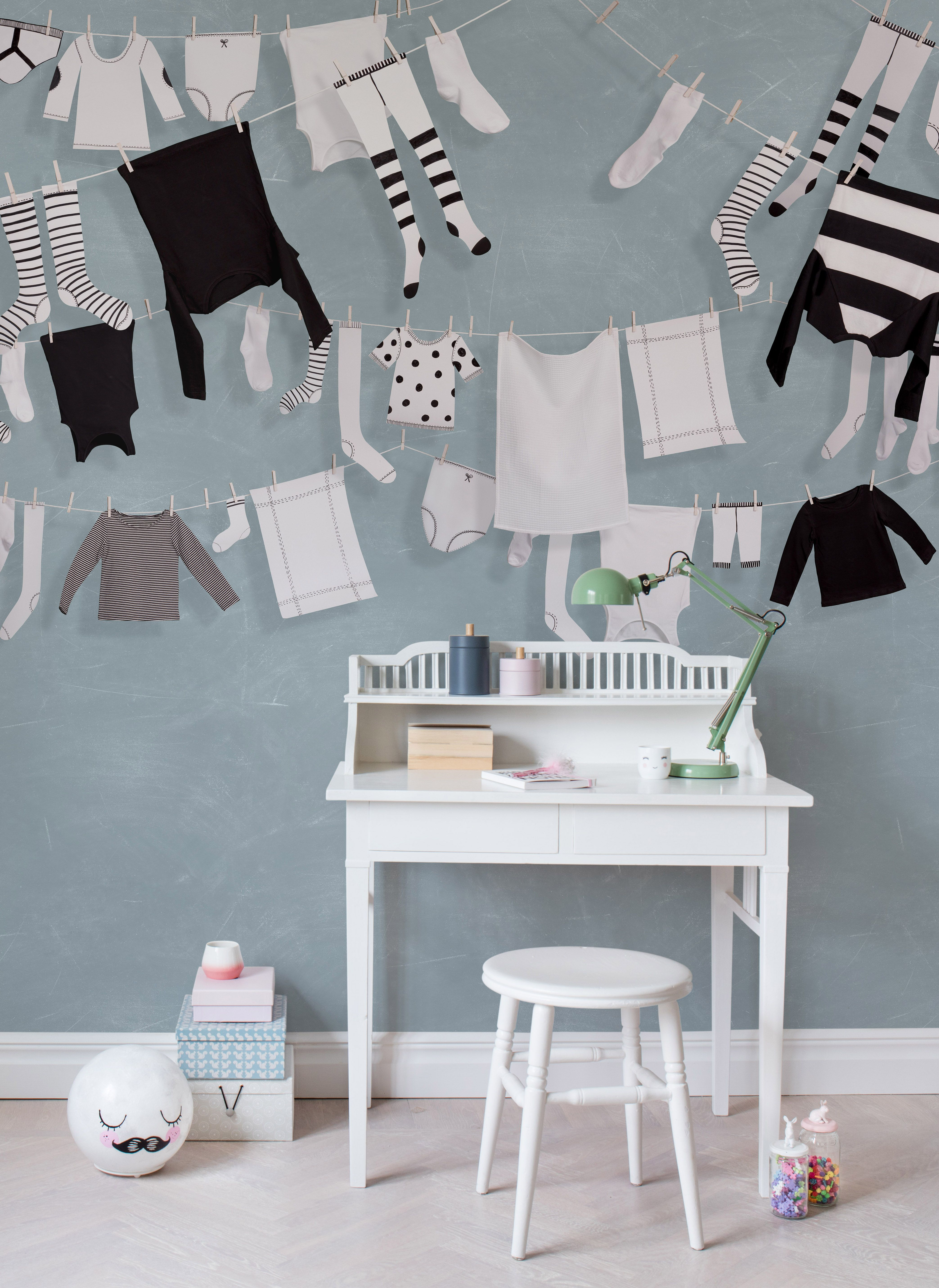 Kinderzimmer Wanddeko Laundry Day Blue In 2018 Tapeten Für S Kinderzimmer Pinterest