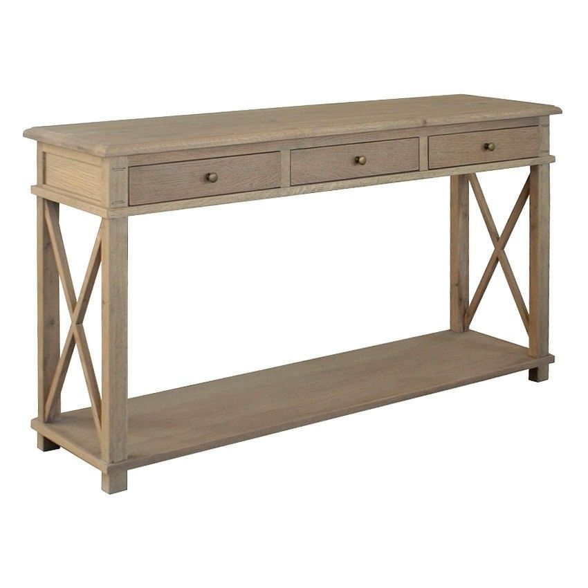 Phyllis Oak Timber 3 Drawer Console Table 150cm Weathered Oak Weathered Oak Console Table Hallway Console Table