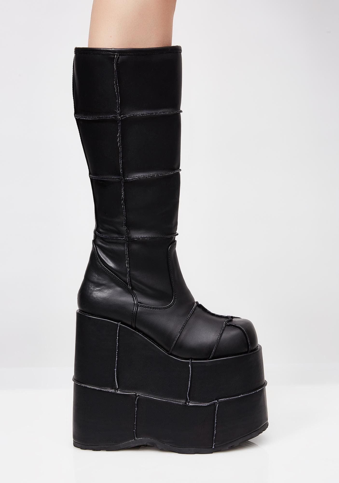 Matte PU Stacked Patched Platforms | Boots, Gothic shoes