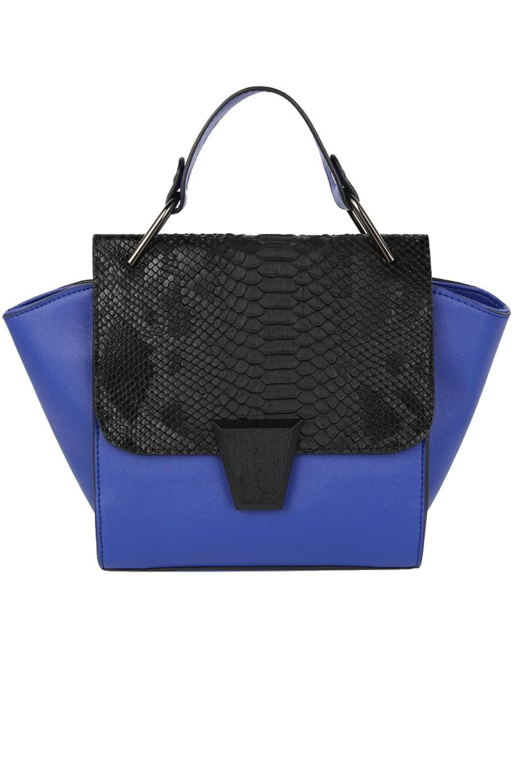 """Our Winged Top Handle is a true stand out piece. Featuring a front wood magnetic closure, stunning faux snake skin details, and gun metal hardware. The textures are perfectly layered to create a handbag with dimension and style. Additional shoulder strap included.    Handle Drop: 3.5"""";Dimensions: 11""""L x 4""""W x 8""""H   Winged Top Handle Bag Bags - Shoulder & Hobo Arizona"""