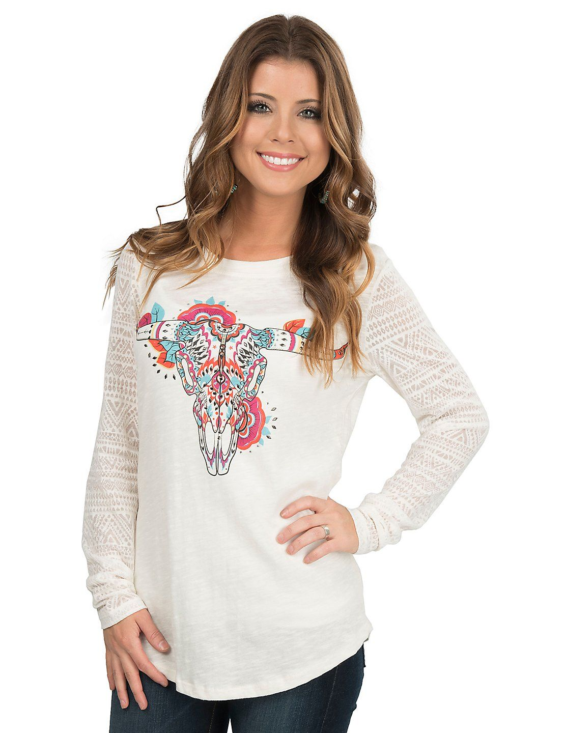 f573ec6317 Ariat Women's White with Multi Colored Steer Head Screen Print with Rhinestone  Studs with Sheer Long Sleeve Casual Knit Top | Cavender's
