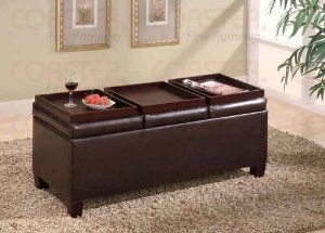 Coaster Storage Ottoman Coffee Table With Trays Brown Vinyl
