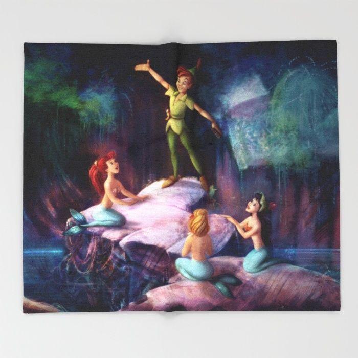 The Mermaid Lagoon Peter Pan Throw Blanket