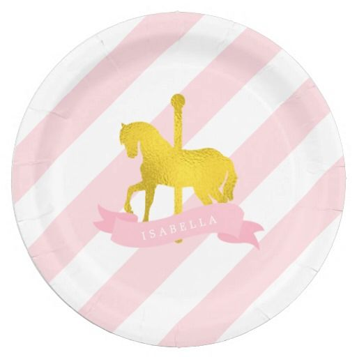 Shop Pink Carousel Horse Birthday Party Paper Plate created by heartlocked.  sc 1 st  Pinterest & Pink Carousel Horse Birthday Party | CUSTOM PAPER PLATES ...