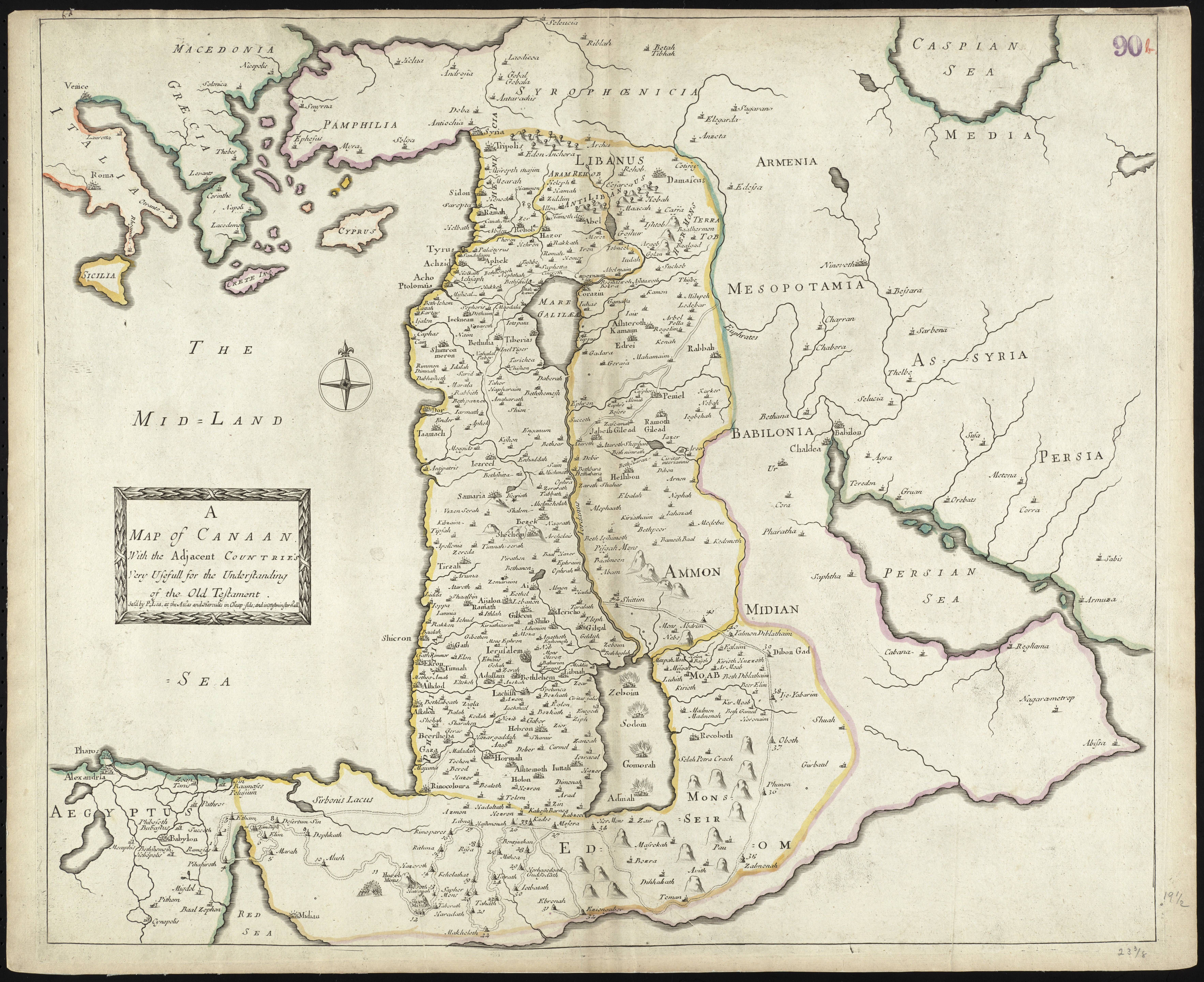 Map of canaan from 1692 map israel palestine middleeast lebanon explore old maps vintage maps and more gumiabroncs Choice Image