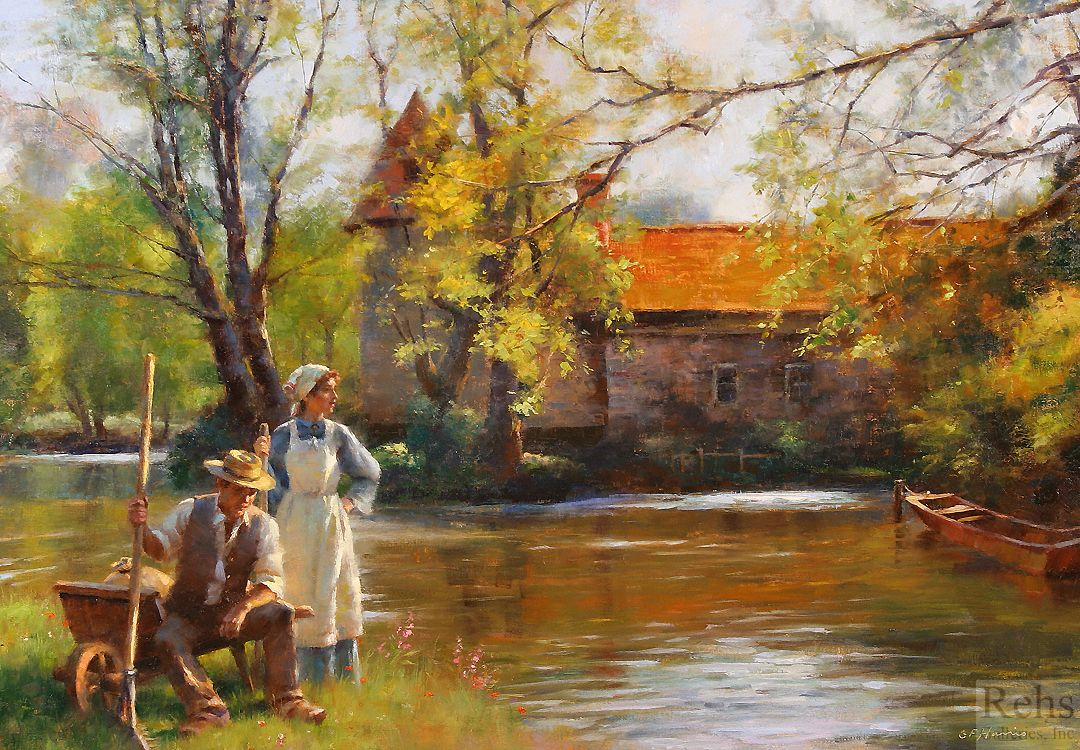 ''Along the Peaceful River'' by Gregory Frank Harris.