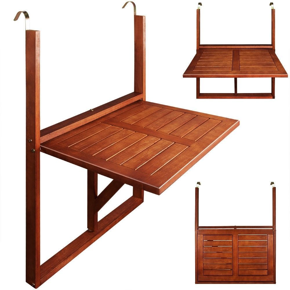 This Lovely Wooden Balcony Hanging Table Is Ideal For Balconies Without Space The Table Is Made Of Trop Terrace Decor Small Balcony Decor Small Balcony Design