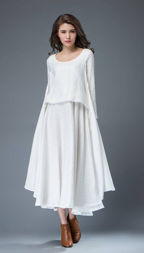 White Linen Dress – Layered Flowing Elegant Long Sleeve Long Summer Dress with Scoop Neck Handmade Clothing C819