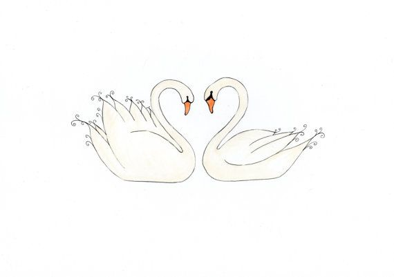 568af6237b65a Swans In Love, Greetings Card, print from original watercolour Baby Tattoos,  Little Tattoos