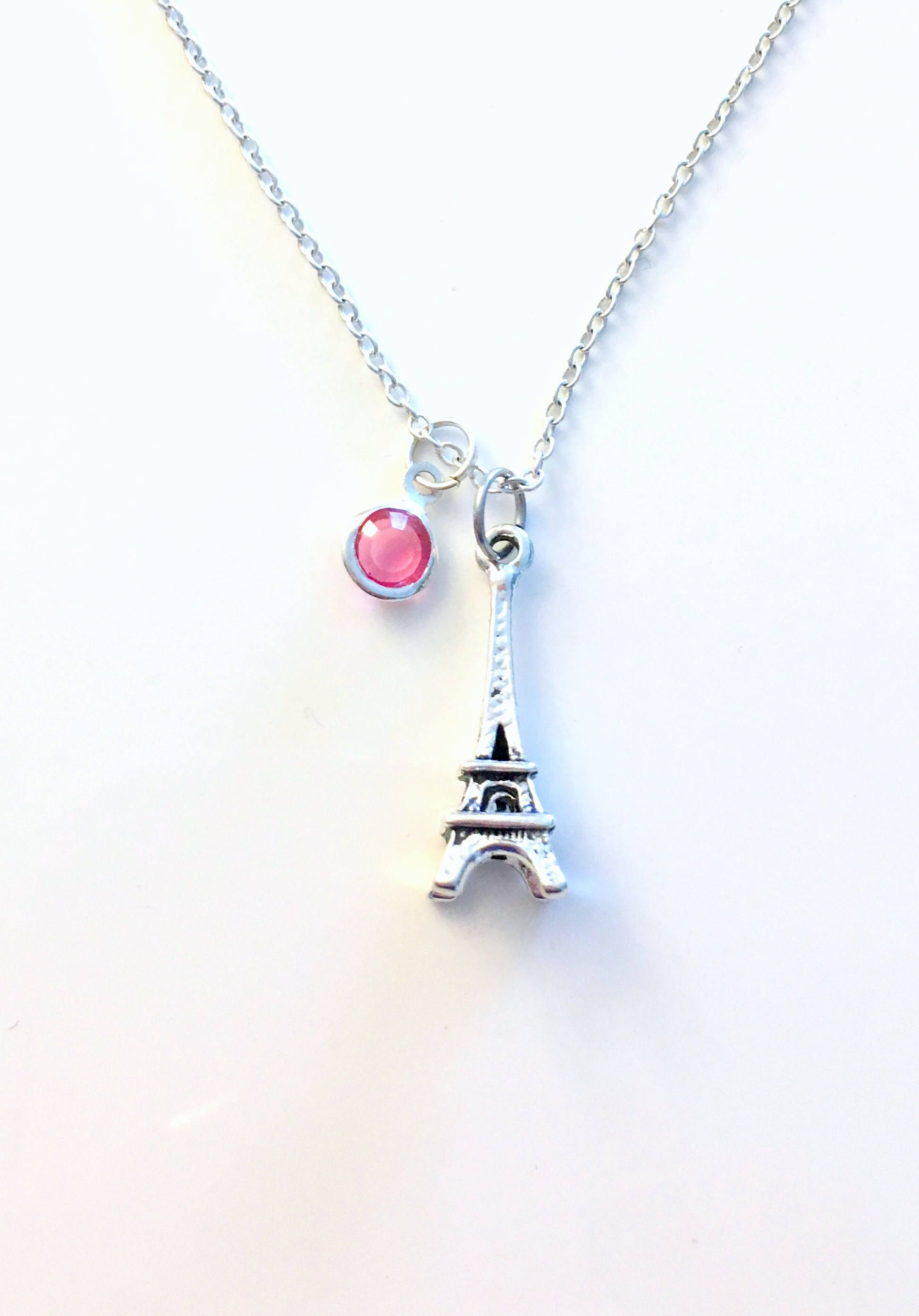 Birthstone Eiffel Tower Necklace Paris Jewelry Personalized Traveler Gift France Souvenir Teenager Girl Birthday Present Girlfriend BFF By