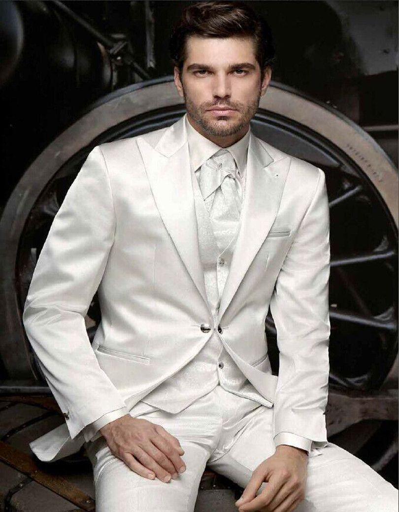 2017 slim fit mens suits white wedding suits for men
