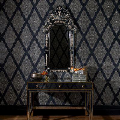 Fabulous 33 X 205 Geometric Flocked Wallpaper Graham BrownLace
