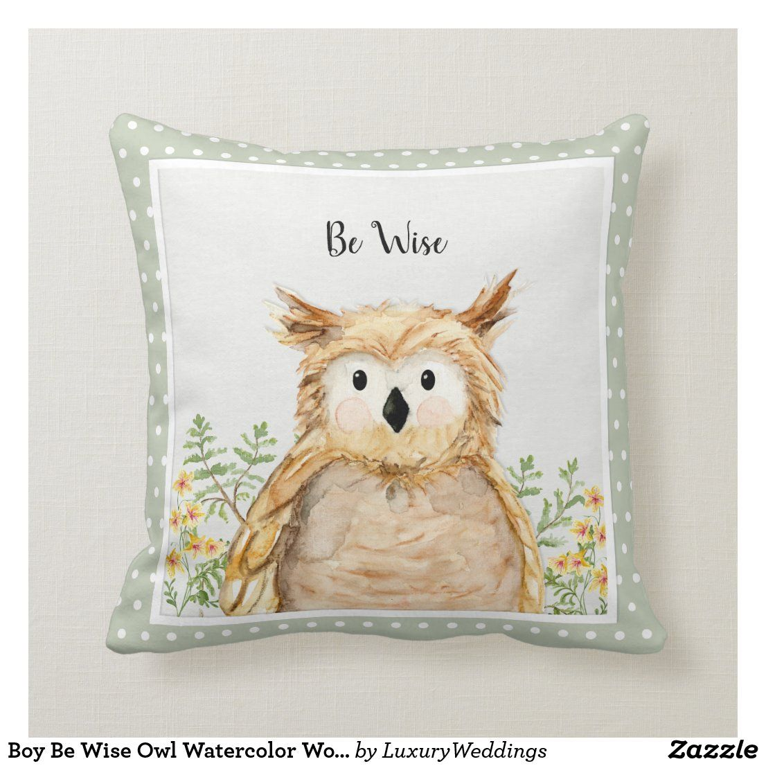 Boy Be Wise Owl Watercolor Woodland Forest Animal Throw Pillow