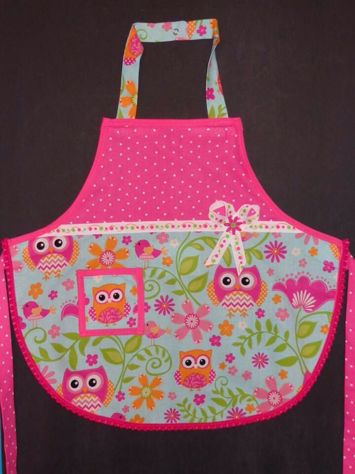 owl apron for little girl  i used mccalls pattern m6587  i added a few things just to jazz it up