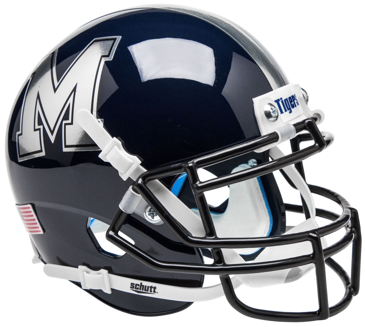 Memphis Tigers Ncaa Schutt Xp Blue With Chrome Logo Full Size Replica Football Helmet Football Helmets Memphis Tigers Mini Football Helmet