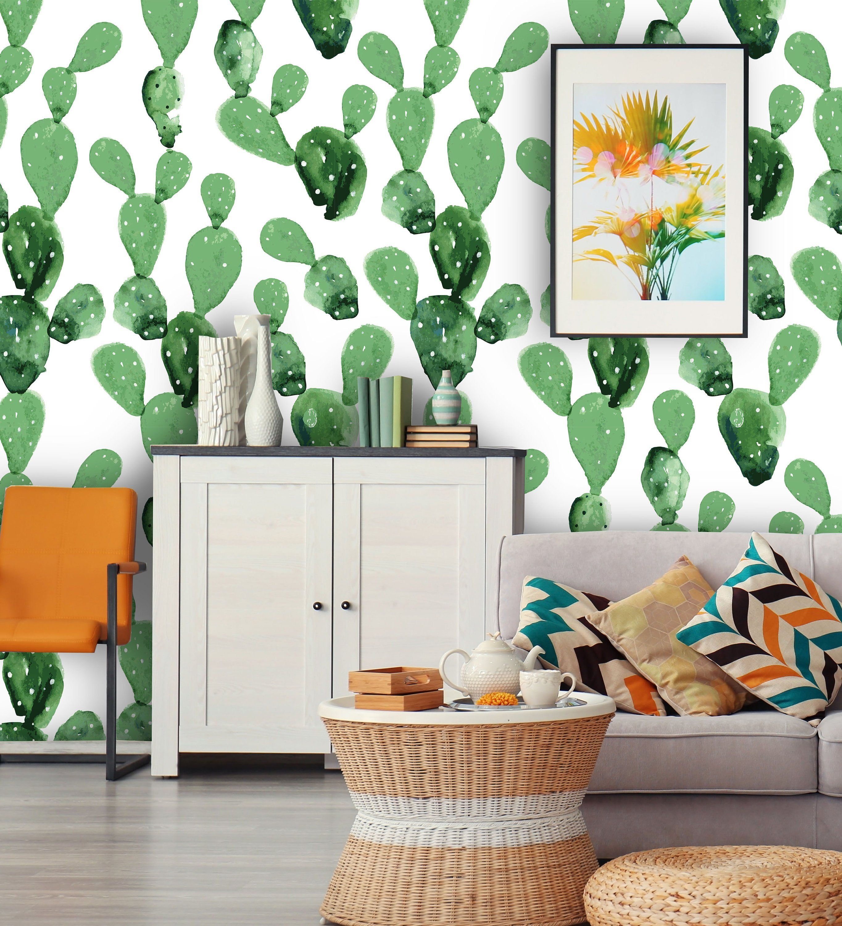 Watercolor Cactuses Self Adhesive Removable Wallpaper This Vinyl Looks Great In Your Living Nursery Or Nursery Room Decor Peel N Stick Wallpaper Wall Murals