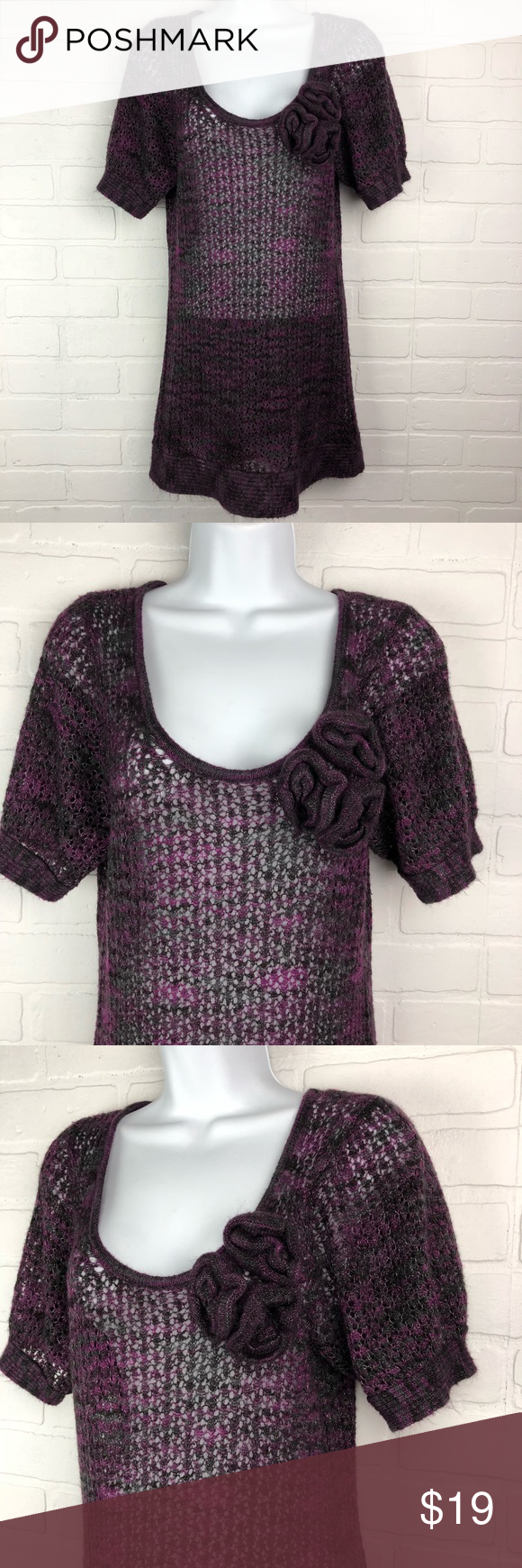 Kensie Pretty L Purple Open Knit Embellished Top