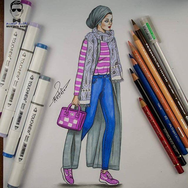 رسم بنت محجبة الخطوات على قناتي في اليوتيوب بأسم مصطفى سعدي
