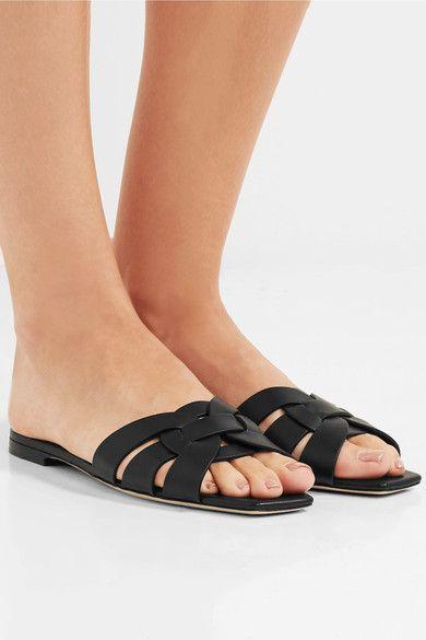 673c7bf6923 Saint Laurent - Nu Pieds Woven Leather Slides - Black