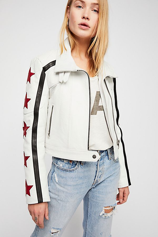 Slide View 2 Star Power Leather Jacket