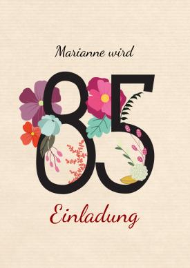 Schöne, Stilvolle Einladung Zum Geburtstag Mit Zahl Und Blumen