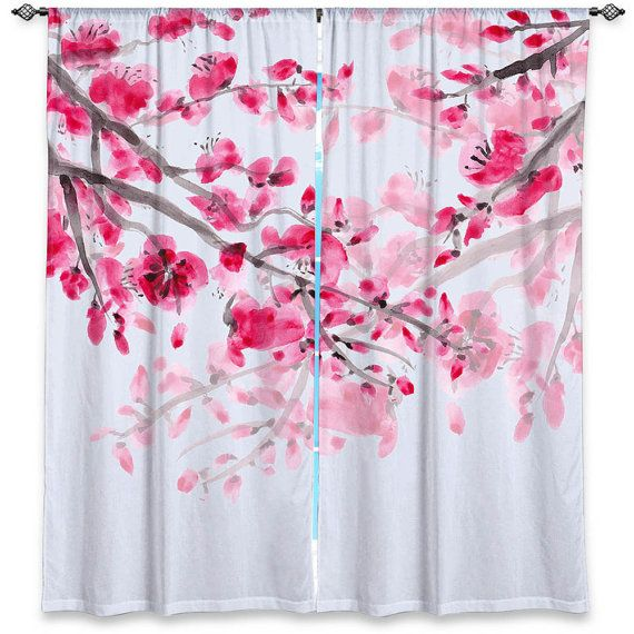 Cherry Blossom Curtains Floral Curtain Panels Pink Flowers